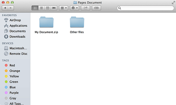 Your document should now show up as a ZIP archive.