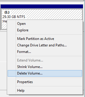 Delete volume in Windows.