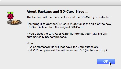 Warning: Backups may be the entire size of the card.