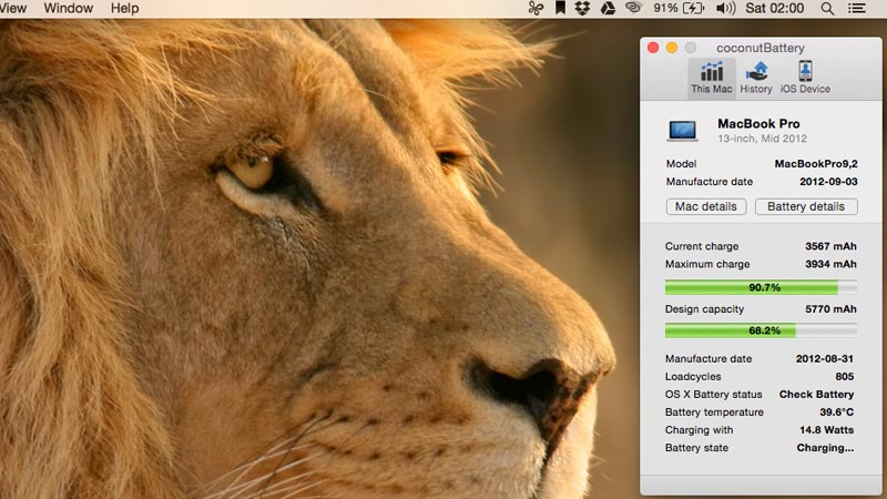 CoconutBattery Mac app - Check battery cycle counts.