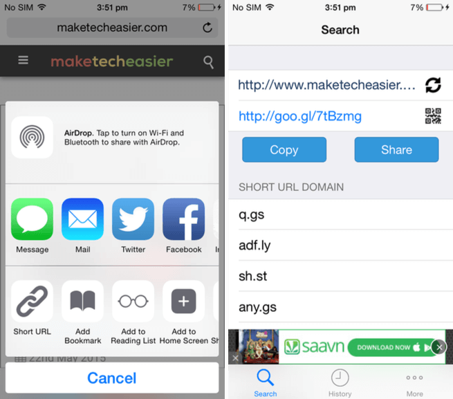 Short URL Maker app for iOS.