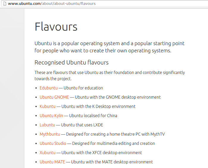 Ubuntu flavours.