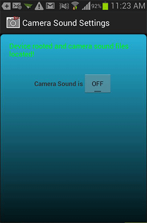 Tap to turn the Camera Sound off.