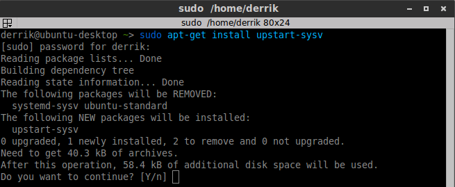 Install the Upstart package.
