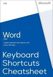Microsoft Words 2013 Keyboard Shortcuts Cheatsheet