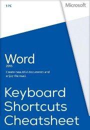 Microsoft Words 2013 Keyboard Shortcuts Cheatsheet