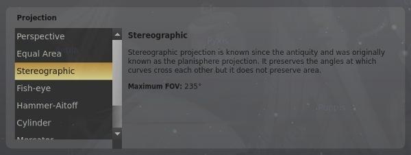 stellarium-change-projection