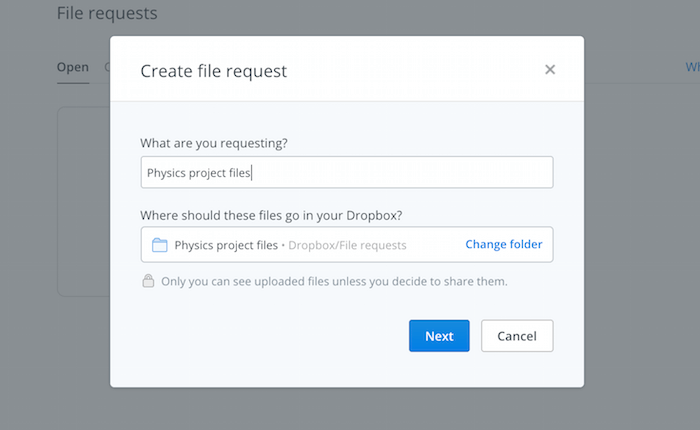 dropbox-request-folder-name