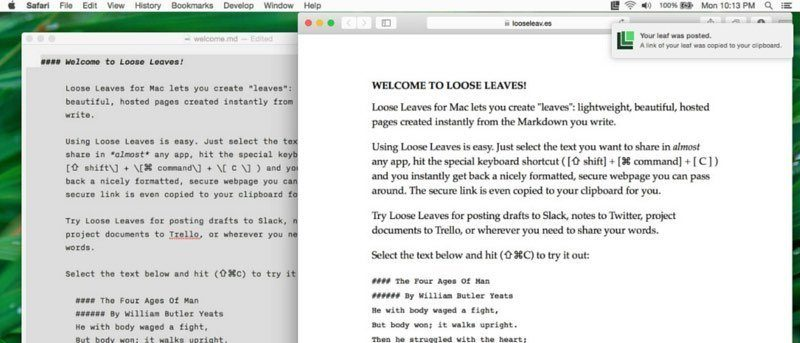 Loose Leaves for Mac Lets You Instantly Generate a Web Page From Markdown Text