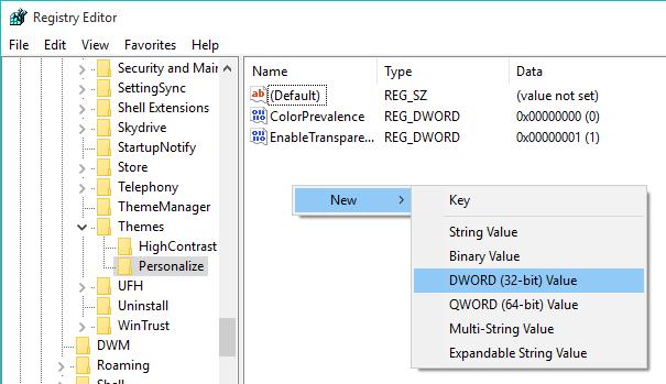 windows-10-dark-mode-personalize-new-dword