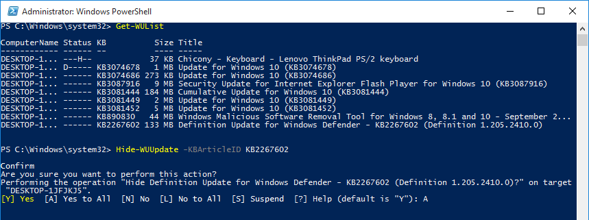 powershell-confirm-hide-update-using-kbid