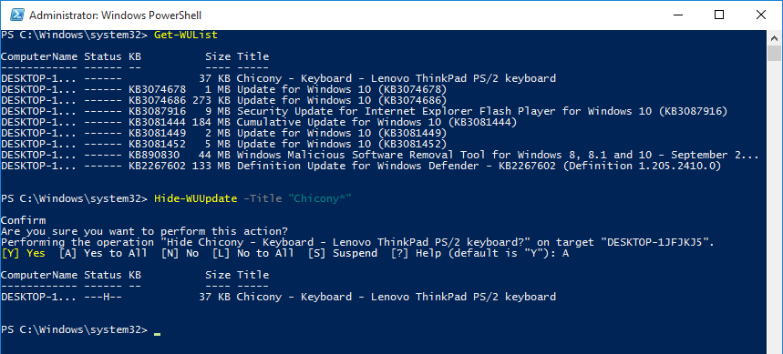 powershell-update-hidden-using-title