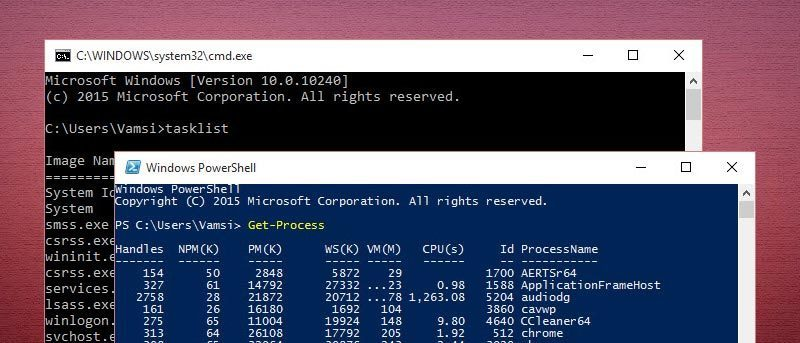 using cmd commands in powershell