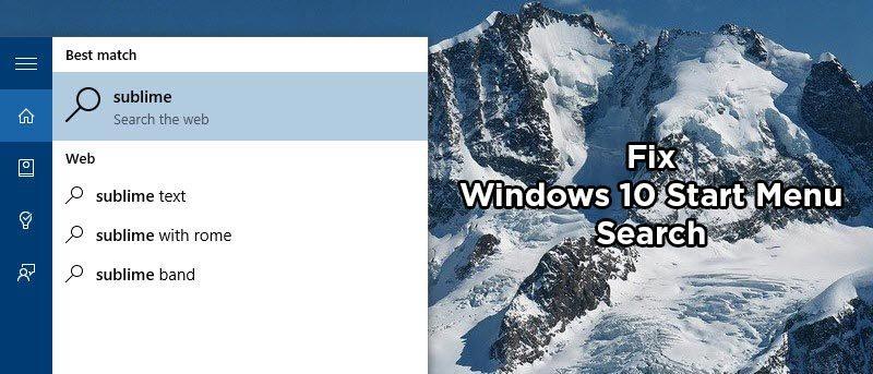 Fix Windows 10 Start Menu Search Not Working - Make Tech Easier