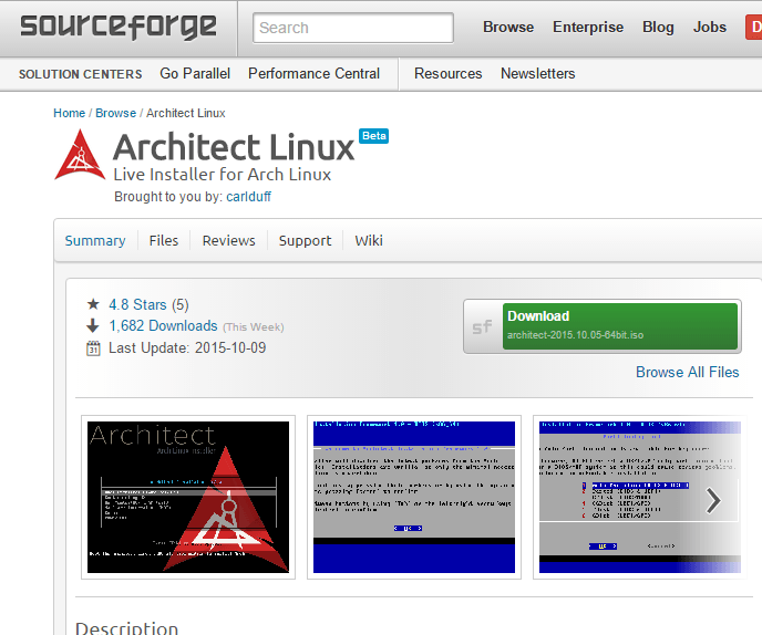architect-install-source-forge-page