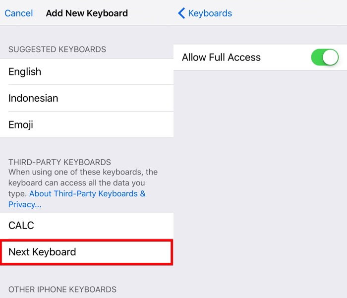 Next iOS Keyboard -mte- 04 - Allow Full Access