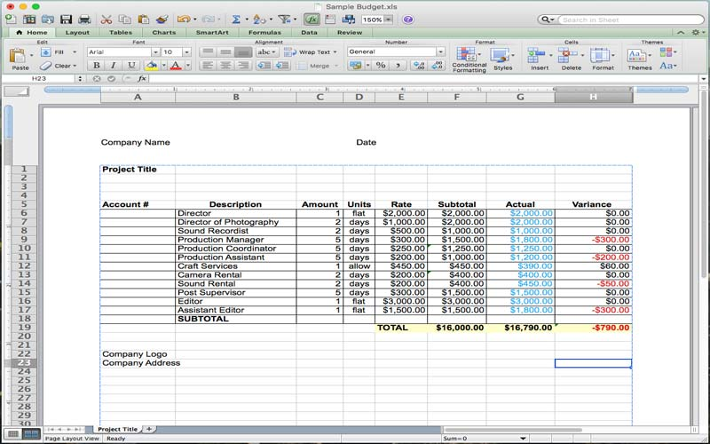 HowToFilmSchool.com offers a sample film production budget template for MS Excel.