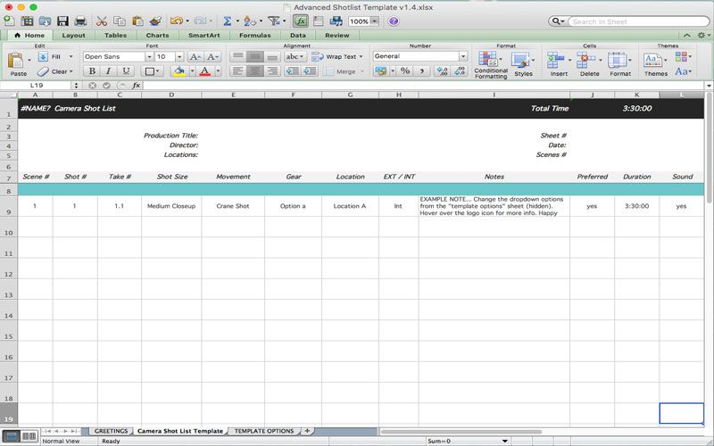 FilmSourcing.com's Advanced Shot List is for Google Docs but can be exported to MS Excel.