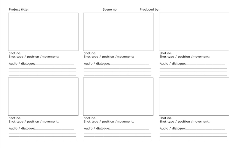 Do it yourself storyboard template created in MS Excel.