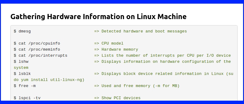 Check Hardware Information On Linux via Command Line
