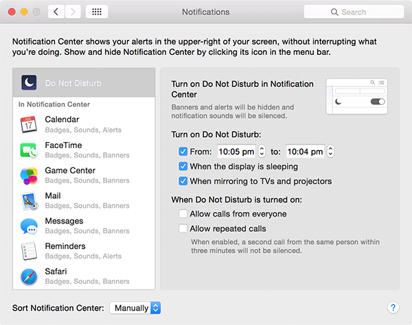 disable Mac notification alerts - dnd