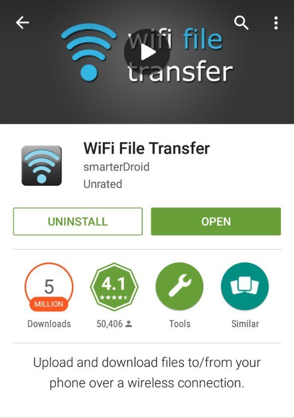 Wi-Fi File Transfer Play Store