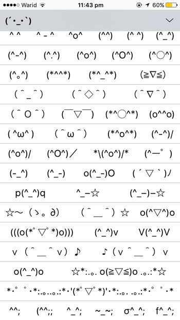 Emoticons-List