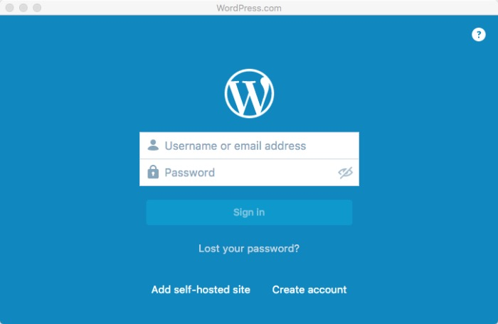 Wordpress Desktop -mte- login