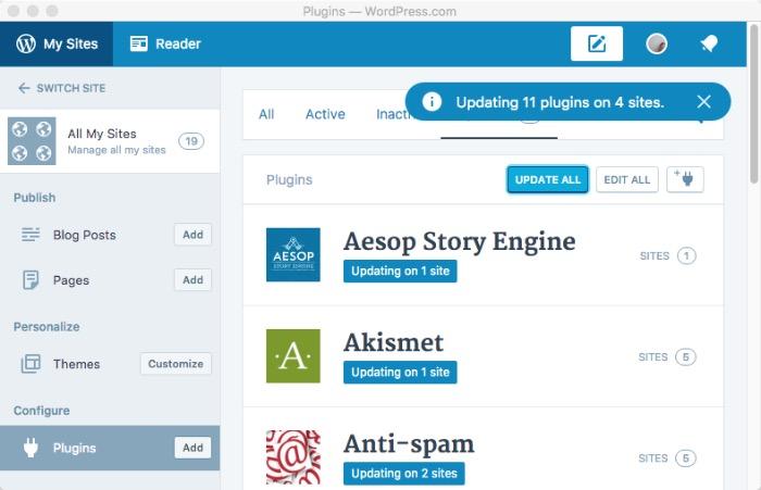 Wordpress Desktop -mte- manage all sites - updating all