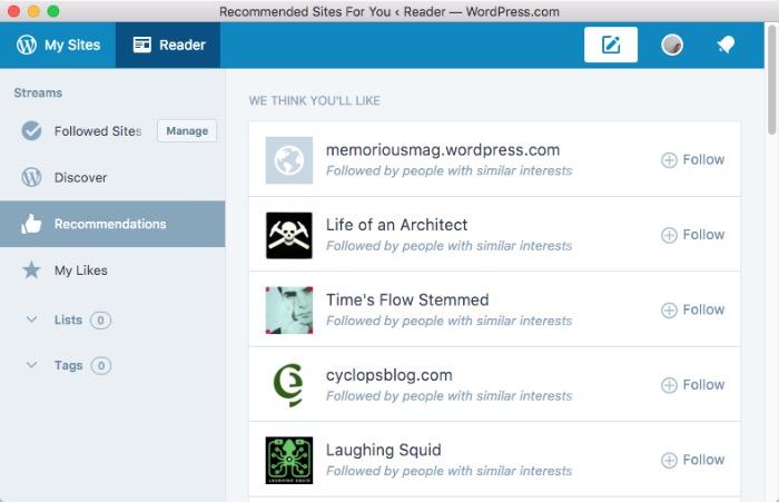 Wordpress Desktop -mte- reader - recommendation