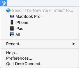 DeskConnect menubar