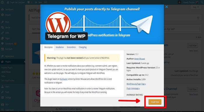 Wordpress n Telegram -mte- Install