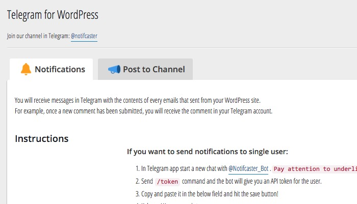 Wordpress n Telegram -mte- Two Tabs