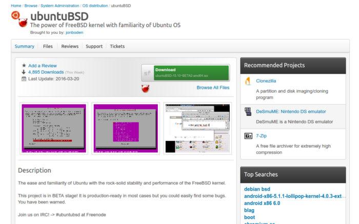 ubuntu-bsd-sourceforge-page