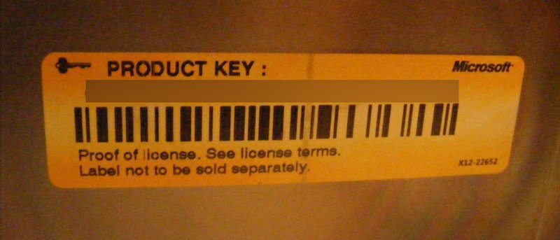 microsoft activation key used on computer