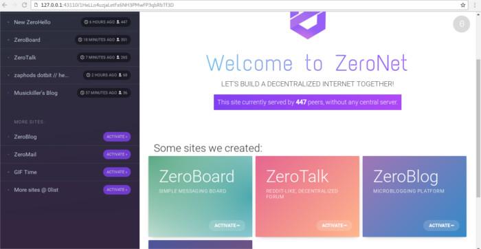 zeronet-start-page
