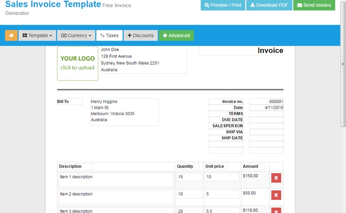 Create-invoices-OnlineInvoices