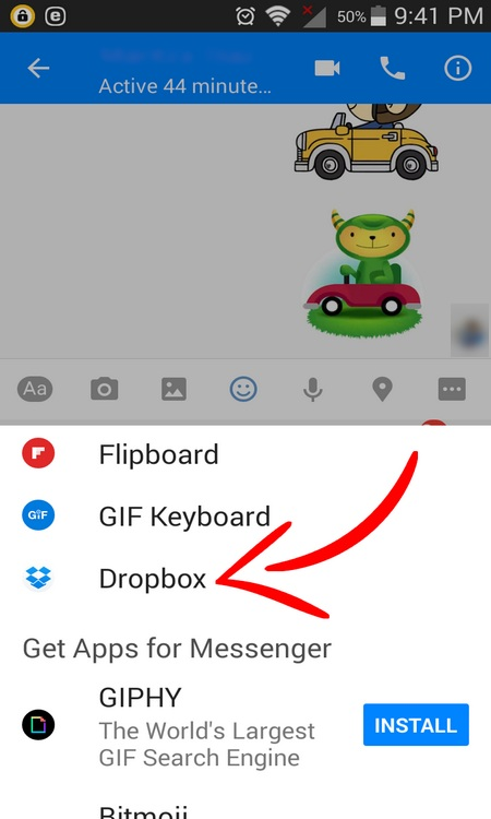 How to Send a Dropbox File in Facebook Messenger
