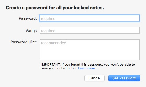 Notes -mte- Create Password Mac