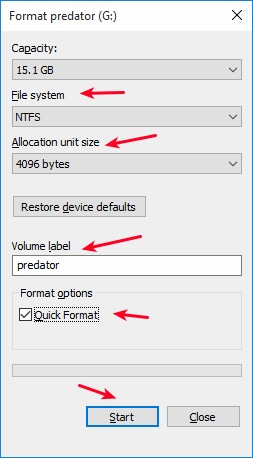 format-usb-options