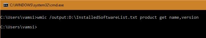 installed-software-list-cmd-command