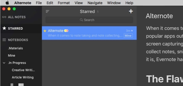 Alternote -mte- starred