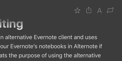 Alternote -mte- top right menu