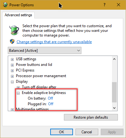 how to change brightness on windows 10 laptop
