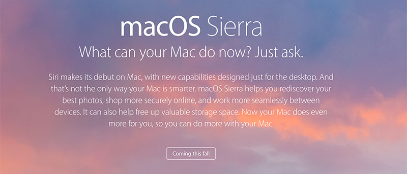 macOS Sierra - What's New and Compatibility List