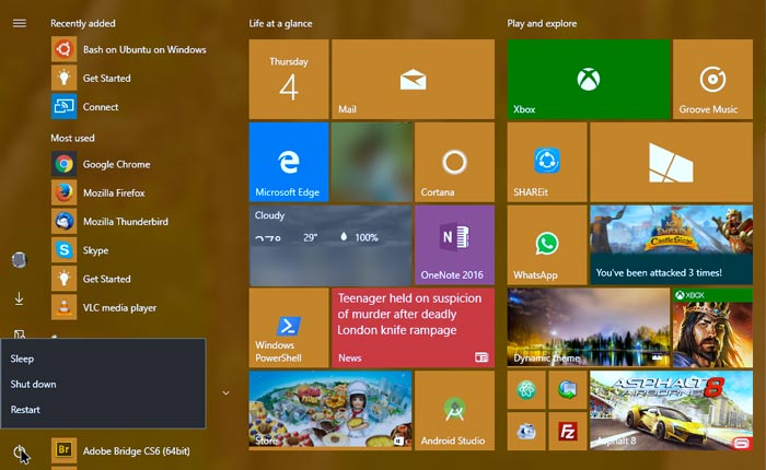 Windows 10 Anniversary Update start-menu