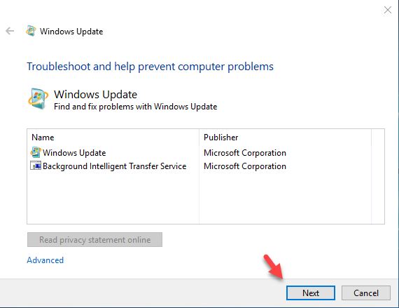 fix windows update troubleshooter home screen