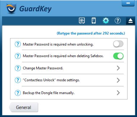 GuardKey advanced settings.