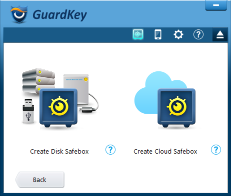 Create a Disk Safebox or Cloud Safebox.