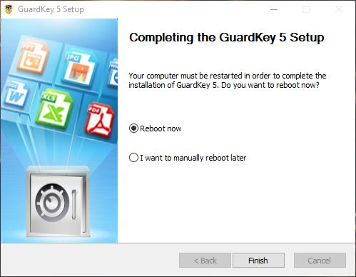 Reboot to complete GuardKey 5 setup.